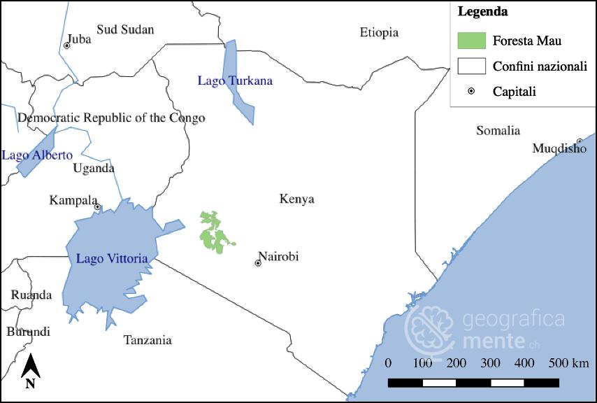 Carta di localizzazione della foresta Mau – Elaborazione dell'autore