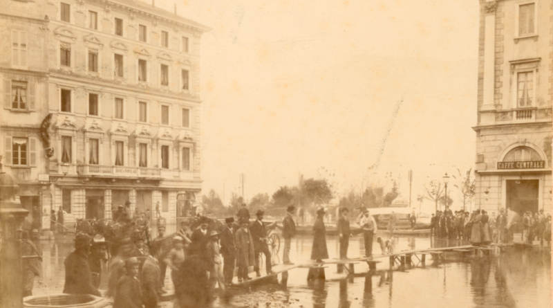 Inondazione del 1896 in Piazza Riforma a Lugano, Francesco Solza. © Archivio di Stato Bellinzona